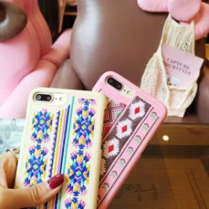 2017 New Embroidery Leather Coating PC Protective Mobile Phone Case pictures & photos