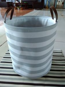Canvas Round Laundry Hamper with 2 Faux Leather Handles and EVA pictures & photos