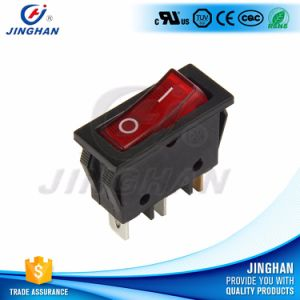 Kcd3-102 Single Pole Rocker Switch with Red Light/Illuminated Square Rocker Switch pictures & photos