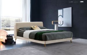 Italian Modern Style Bedroom Wood Fabric Bed Double Bed (HC868) pictures & photos