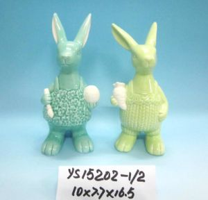 Ceramic Rabbit Figurines for Easter Decoration pictures & photos