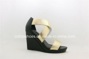 Fashion Elegant Elastic High Heels Wedge Women Sandals pictures & photos