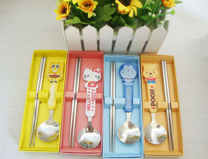 Stainless Steel Children Use Chopsticks and Spoon Cutlery Set pictures & photos