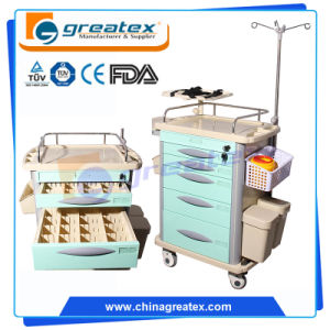 Classic Hospital Plastic Emergency Crash Resuscitation Trolley, Medical Cart with Wheels (GT-QET3101) pictures & photos