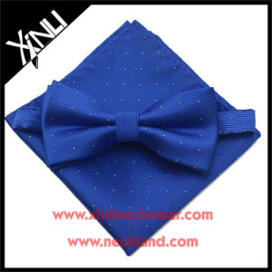 Pure Silk Woven Wholesale Bow Tie Sets with Matching Handkerchief pictures & photos