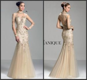 Long Sleeve Collar Mermaid Beaded Tulle Prom Evening Dress W147196 pictures & photos