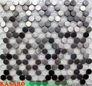 Round Glass Mix Metal Mosaic Pebble Tile (KSL135133)
