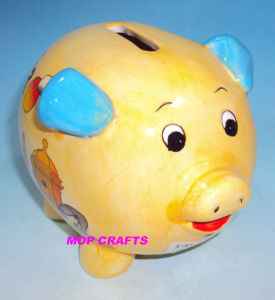 Ceramic Coin Bank with Printing Color Pictures pictures & photos