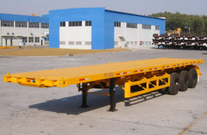 3 Axles Flatbed Semi Trailer with Container Lock pictures & photos