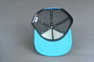 Bule/Black Mesh Hat Snapback Cap with Rubber Printing pictures & photos