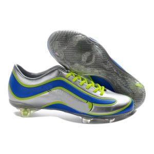 Super a Football Shoe for Athlete Soccer Brazil World Cup Shoe Silver Blue pictures & photos