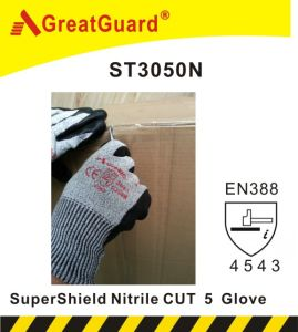 Greatguard Nitrile Palm Cut 5 Glove (ST3050N) pictures & photos