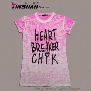 Girls′ Burn out Printed Cotton T-Shirt (WX10-0302)