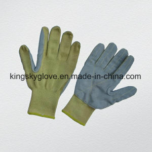 10g Aramid String Knit Liner Leather Palm Cut Resistance Glove-2307 pictures & photos