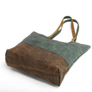 New Design Waxed Canvas Shoulder Bag Waterproof Shopping Tote Bag (RS-62250-p) pictures & photos