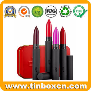 Hinged Cosmetic Tin Box for Lipstick Lip Balm Container pictures & photos