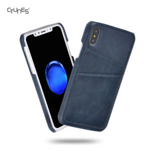 Slim Custom PU Leather Back Cell Phone Cases Cover Skin with Credit Card Holder for iPhone X pictures & photos
