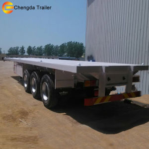 3 Axle Container Flatbed Semi Trailer with Spring Suspension pictures & photos