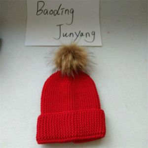 Good Quality Knitted Beanie Cap Women Winter Hat Raccoon Fur POM Hat pictures & photos