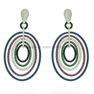 Plated Jewelry Colorful Hanging Circle Shaped Earrings (KE3110) pictures & photos