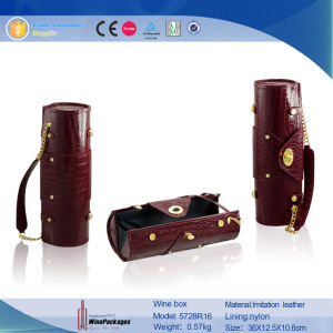 Cylinder Leather Cardboard Rocodile Grained Individual Wine Box (5728R18) pictures & photos