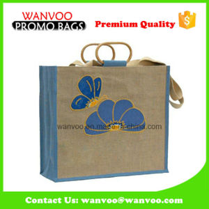 Environment Protection Jute Burlap Grocery Tote Bag with Wooden Handle pictures & photos