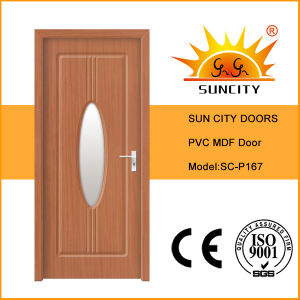 Interior PVC MDF Door with Glass Design (SC-P167) pictures & photos