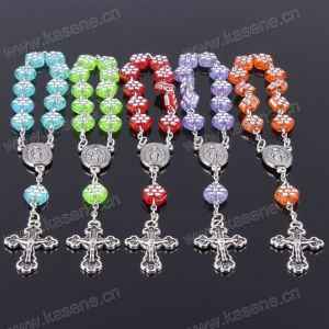 Fashion Cheap Plastic Rosary Beads Bracelet with Cross