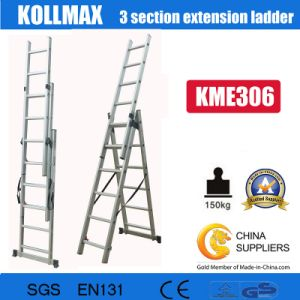 Aluminium 3 Section Extension Ladder 3X6 pictures & photos