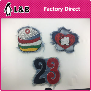 New Design Wholesale Towel Embroidery Patch with Denim pictures & photos