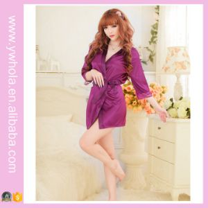 Fashion Women Sexy Lingerie Satin Robe Lace Pink Intimate Sleepwear Robe Night Gown Nightwear Dress pictures & photos