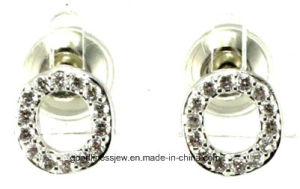 Special Design 2015 New Hot Sale Letter O Design Rhodium Plated Women Fashion Stud Earrings Le6312 pictures & photos