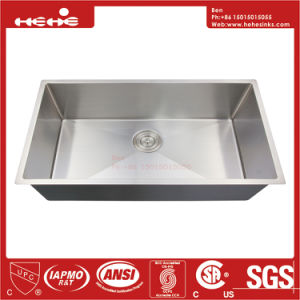 32X19 Stainless Steel Under Mount Single Bowl Handmade Kitchen Sink pictures & photos