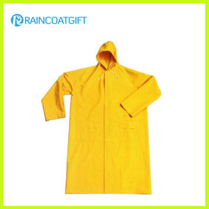 Durable PVC Polyester Safety Long Yellow Raincoat pictures & photos