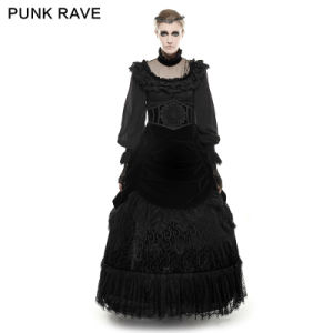 Q-281 Gothic Female Velvet and Lace Palace Big Swing Long Skirt pictures & photos