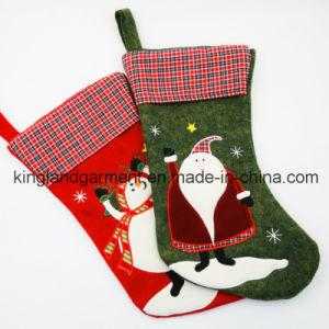 Quality Embroidery/Applique Christmas Decoration Felt Tartan Santa Style Stocking pictures & photos