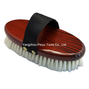 Goat Hair Body Brush, Elegant Tree Ring Lacquered (PY-301)