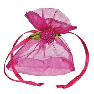 Personalized Pink Gift Packaging Organza Drawstring Bag (COB-1147) pictures & photos