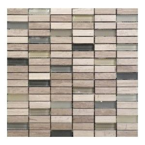 China Grey Wood Grain Mixed Manufacture Glass Mosaic Rectangle Tile
