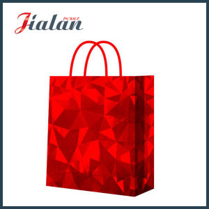 Red Shiny Film Customize Holographic Paper Garments Bag pictures & photos