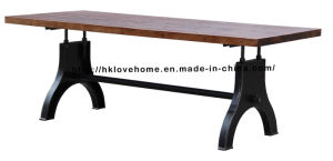 Modern Industrial Round Metal Dining Restaurant Wooden Top Table pictures & photos