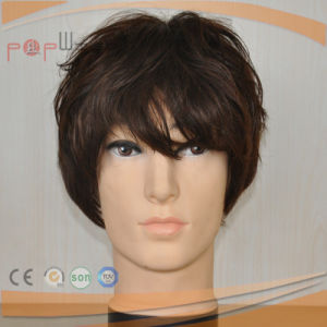 Handsome Short Length Wavy Type Full Human Hair Mens Lace Wig pictures & photos