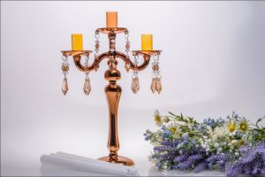 Golden Glass Candle Holder for Wedding Decoration (three poster) pictures & photos