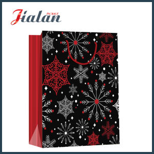 Glossy Laminated Art Paper Christmas Red & Black Gift Paper Bag pictures & photos