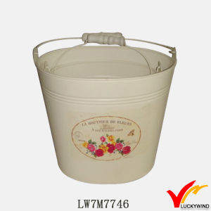 Garden and Home Vintage White Painting Handmade Zinc Pail Flower Pot pictures & photos