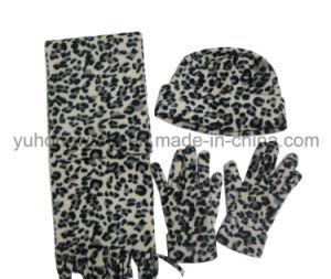 Fashion Lady Knitting Winter Warm Printed Polar Fleece Set