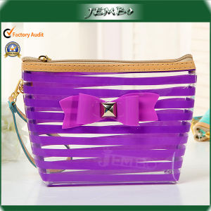 Single Open Purple Clear PVC Cosmetic Plastic Bag pictures & photos