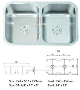 Stainless Steel Kitchen Sink, Doulbe Bowl (LD81) pictures & photos