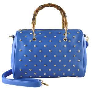 Popular European Woman PU Handbag with Special Handle, Rhinestone Handbag