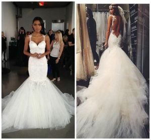 Mermaid Tulle Wedding Gown Backless Spaghetti Straps Bridal Gown Lb1725 pictures & photos